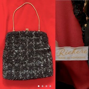 VTG beautiful square beaded sequin black minipurse